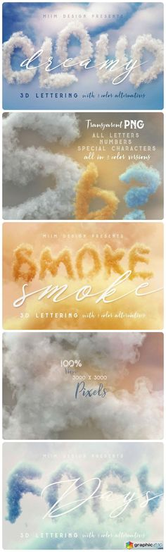 Dreamy Clouds  3D Lettering  stock images