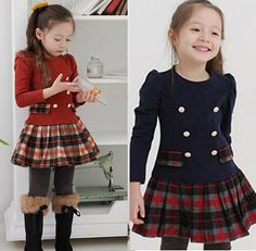 New Kids Toddlers Girls Lovely Plaid Long Sleeve Cotton Age 2 8years Tutu Dress | eBay