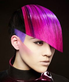 A short black straight coloured multi-tonal avant-garde purple smooth vibrant hairstyle by Jacqueline Sanchez or Nick Stenson.