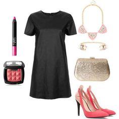 Black dress, pink lip, blush, statement necklace, gold bracelet, pink heels
