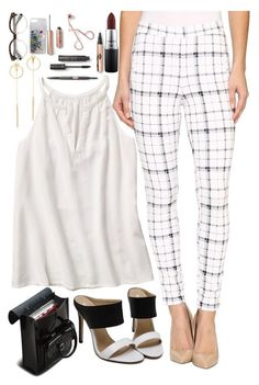 """""""plaid pants"""" by cris05 on Polyvore featuring Hue, Dr. Martens, MAC Cosmetics and Rebecca Minkoff"""