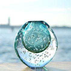 Round aqua vase
