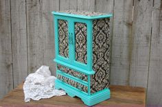 Shabby Chic Jewelry Box Armoire Tiffany Blue by TheVintageArtistry, $119.00