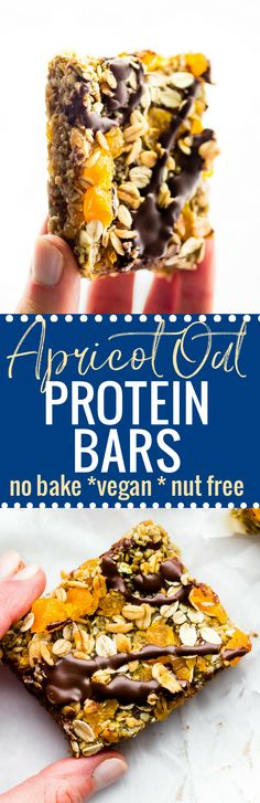 These No Bake Apricot Oat Protein Bars are easy to make with turkish apricots, gluten free oats, protein, and seeds! The perfect nutritious protein packed snack or breakfast to go! Sweet, salty, chewy, and dense! A Wholesome homemade protein bar recipes that's nut free, vegan, and naturally sweetened! www.cottercrunch.com