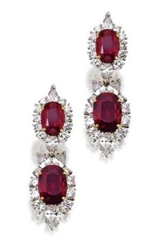 Pandora Jewelry OFF!>> Pair of platinum ruby and diamond earrings. Set with cushion-shaped rubies weighing approximately carats framed by round and pear-shaped diamonds weighing approximately carats pendants detachable. Ruby Earrings, Ruby Jewelry, Diamond Jewelry, Dangle Earrings, Jewelry Box, Diamond Earrings, Jewelry Accessories, Fine Jewelry, Jewelry Design