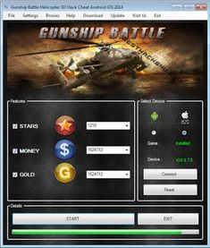 We will provide GUNSHIP BATTLE : Helicopter 3D Hacks Unlimited Gold, Gems No Surveys No Password to download for free. Alot sites for cheat tools given on the internet but you have to pay. Get the Hack Cheats Hack Tool and you'll surely enjoy the game to the maximum. How to Hack GUNSHIP BATTLE : Helicopter 3D for iOS and Android?