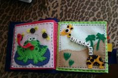 Frog quiet book page and giraffe quiet book page ~ I LOVE THIS MINI BOOK OF ANIMALS FOR REALLY YOUNG CHILDREN. NO PIECES TO GO MISSING!