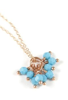 Turquoise Beads Necklace Rose Gold Filled