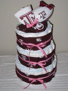 Baby girl's Aggie diaper cake!