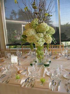 tall wedding centerpieces, tall hydrangeas centerpiece