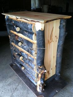 Rare Gray Aspen 4 drawer chest of drawers....beds and complete bedroom sets to match... (814) 257-8911 or facebook at Old Farm Amish Furniture for a complete line of rustic log amish made furniture in aspen, sassafras, hickory, peeled pine, cedar and more :)