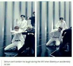 First: Got stepped on in Growl. Next: Got hit on the head in Overdose. Poor Maknae always gets hurt in MVs. HAHAHA