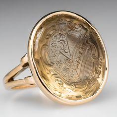 Antique Signet Crest Intaglio Seal Ring Citrine 14K Gold