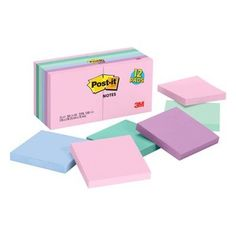 Post-It Basic Notes, Multi-Colored - Post-It Basic Notes, Multi-Colored - Post It Pad, School Suplies, Stationary School, Stationary Supplies, Back To School Supplies, College School Supplies, Cute Stationery, Korean Stationery, Too Cool For School