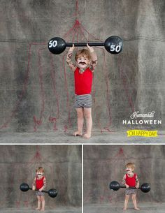 DIY Halloween Strongman Outfit tutorial from Oh Happy Day here. This is not a practical costume where I live to go trick-or-treating (way too cold outside), but it is really cute for an indoor party. Diy Halloween Costumes For Kids, Cute Costumes, Baby Costumes, Halloween Crafts, Costume Ideas, Halloween Clothes, Children Costumes, Costume Contest, Halloween Stuff