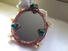 copper and malachite! #etsyfindsToxicity Scrying Mirror Pendant  OOAK Mirror by VagabondTradeCo