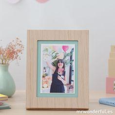 Marco de fotos de madera y color mint #mrwonderfulshop #woodframe #decor #home