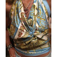 Instagram media parisfashionvintage - How to wear an Hermès scarf as a top! Thanks Catherine, you look gorgeus!  #parisjetaime #photomodel #photographer #photo #paris #hermes #hermesscarf #silk #silkscarf #fashion #fashionista #parisian #parisienne #frenchstyle #frenchgirl #ibizastyle #ibiza #fashionblogger #travelblogger
