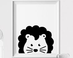 Lion, impression de la chambre de bébé, impression d'art Safari Animal, art mural, animal Peekaboo, Minimal, noir et blanc, chambre, décoration chambre d'enfant, ArtFilesVicky pour enfants