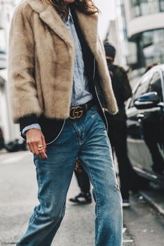 Fur jacket, chambray shirt, blazer, belt, the best everyday jeans ever.