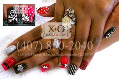 Comic Nail Design  POW, Cross bone skeleton, Polka dotted bow, lightening bolt, diamond outline, mustache face Nail Art  Hand painted / Drawn Nail Art. NOT STICKERS.  By APPOINTMENT ONLY with Lucy. https://www.facebook.com/XONailsOrlando