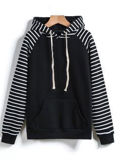 Black Hooded Long Sleeve Pockets Striped Sweatshirt - abaday.com