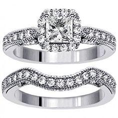 2.00 CT TW Halo Designer Princess Cut Diamond Engagement Bridal Set in 14k White Gold - Size 7.5  http://electmejewellery.com/jewelry/wedding-anniversary/200-ct-tw-halo-designer-princess-cut-diamond-engagement-bridal-set-in-14k-white-gold-size-75-com/