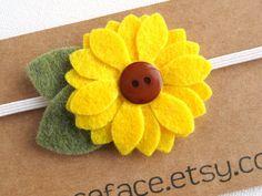 Felt Flower Headband  yellow sunflower  Newborn Baby by kaceface, $6.00