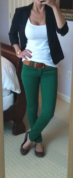 love the colored jeans with a white tank and black blazer combo!  leopard flats are great too!