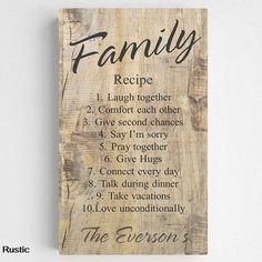 NEW Family Recipe Canvas Sign