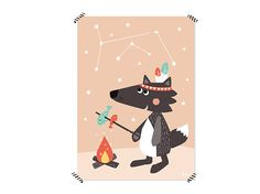 Drucke & Plakate - Nachtleuchtendes Poster - Wolf / 50 x 70 cm - ein Designerstück von julicadesign bei DaWanda