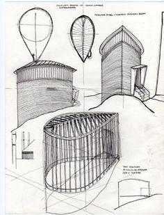 Sketch Book. Saint Benedict Chapel, Sumvitg, Graubünden, Switzerland. 1989. Peter Zumthor