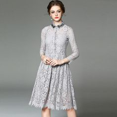 Beaded Gray Long Sleeve Lace Medi Dress
