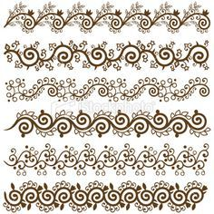 Six different Mehndi Border Design,very easy to edit,you can make. - - Six different Mehndi Border Design,very easy to edit,you can make your pattern from this. Mehndi Designs, Mehndi Patterns, Henna Tattoo Designs, Doodle Patterns, Zentangle Patterns, Zentangles, Arte Mehndi, Mehndi Art, Henna Art