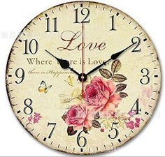 Romantic Sweet Roses Clock, 14' Schmuckbox Rustic Floral Style Wall ClockLove Rose Butterfly Wooden Art Decor Non-Ticking Bedroom Study Desk Home Decoration(Love Rose,C-70) ** Special  product just for you. See it now! : home diy wall
