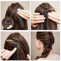 2Pcs/set Fashion Hair Braiding Braider Tool Roller with Magic Hair Twist Styling Hair Braiders for Women&Girls