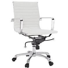 Modway Ribbed Mid Back Chair in White Vinyl >>> Want additional info? Click on the image. #HomeOfficeFitting