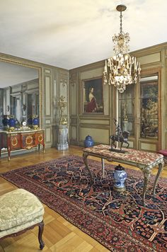 Interior by legendary Parisian Maison Jansen, where it's director Stéphane Boudin and his successor Pierre Delbée were involved. The interior seen here is a fine example of the firm's work.