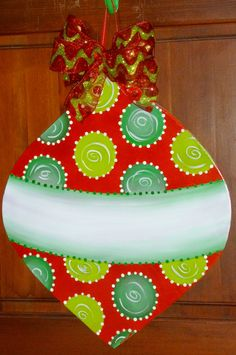 Large Size Wooden Christmas Ornament by OnTheBrightSideArt on Etsy
