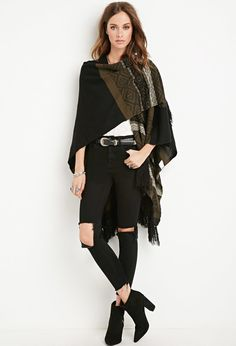 Geo-Patterned Open-Front Poncho | Forever 21 - 2000161907