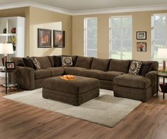 The Motley Sectional Colourful Living Room, Eclectic Living Room, Cozy Living Rooms, Home Living Room, Living Room Designs, Living Room Decor, Brown Sectional Sofa, Brown Couch Living Room, Couch Design
