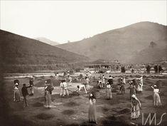 Escravos em terreiro de uma fazenda de café na região do Vale do Paraíba. Por Marc Ferrez, cerca de 1882. Vale do Paraíba, RJ