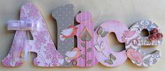 Alice rosa e cinza passaros porta matern | Válvula de Scrap | Elo7