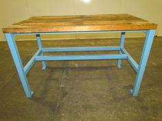 "Industrial Butcher Block Workbench Table Welded Steel Frame 54x30x34"" Height | eBay"