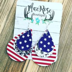 Diy Jewelry Glitter American Flag Faux Leather Dangles – Mae Rose Boutique - Approximately 3 inches in length Lead Diy Leather Earrings, Diy Earrings, Leather Jewelry, Earrings Handmade, Handmade Jewelry, Recycled Jewelry, Teardrop Earrings, Silver Earrings, Do It Yourself Jewelry