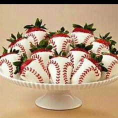 World Series Strawberries!  Love these strawberries that look like mini-baseballs. Here's the recipe http://itsybitsyfoodies.com/chocolate-covered-baseball-strawberries/ :)