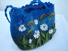 Wet felted bag womens felted purse with daisy от ViktoriyaSK