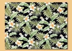 10omo'omo'o Tropical Botanical Vintage Hawaiian Fabric.Plumeria and Hibiscus flowers on a black cotton broadcloth apparel fabric..
