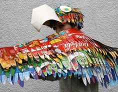 Makedo Parrot Costume: Wearable Bird Wings and Parrot Hat great recycled cardboard box costume for kids to make..use up all those drinks multi pack cartons