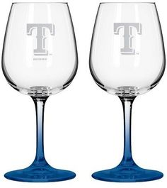 MLB Rangers Wine Glass - Set of 2